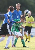 PressEye-Northern Ireland- 19th August  2019-Picture by Brian Little/PressEye. Northern Ireland U16 Cameron Crook    and Estonia U16  Andreas Vaher  during Monday evening\'s challenge match at Breda Park (Knockbreda FC).. Picture by Brian Little/PressEye .