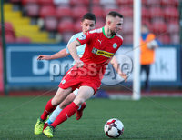 Press Eye - Belfast - 6th January 2018  . Cliftonville v Warrenpiont Town, Tennents Irish Cup 5th round at Solitude, North Belfast.. Cliftonville\'s Jude Winchester in action with Warrenpiont Town\'s Seanna Foster. Picture by Matt Mackey / Inpho.ie