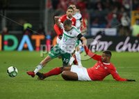 PressEye-Northern Ireland- 12th November  2017-Picture by Brian Little/ PressEye. Switzerland  Manuel Akanji   and Northern Ireland Jamie Ward     during Sunday night\'s FIFA  World Cup play-off  second leg match at St Jacob Park, Basel.. Picture by Brian Little/PressEye