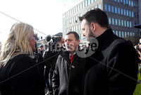 Relatives of the Bloody Sunday victims make their way from the Bloody Sunday Monument to the City Hotel to meet with the Public Prosecution Service.. John Teggart, Ballymurphy Families, speaking to Michelle O\'Neill and Colum Eastwood.. Photo Lorcan Doherty/Presseye
