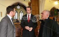 Wednesday 13th September 2017. Mandatory Credit ©Lorcan Doherty Press Eye . Christ Church attacked by vandals . Gary Middielton (DUP), Mark H Durkan (SDLP) and Raymond McCartney (Sinn Fein).. . Vandals who broke into a Londonderry church have smashed windows and damaged an organ reputed to be one of the most beautiful in Ireland.. The break-in at Christ Church on Infirmary Road was discovered late on Tuesday.. A decanter used in Holy Communion services was also stolen.. Police have yet to establish a motive for the attack, which the Bishop of Derry and Raphoe, the Right Rev Ken Good, has described as