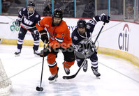 Press Eye - Belfast, Northern Ireland - 30th November 2019 - Photo by William Cherry/Presseye. Princeton Tigers\' Mike Ufberg with UNH Wildcats\' Patrick Grasso during Saturday afternoons Friendship Four game at the SSE Arena, Belfast.      Photo by William Cherry/Presseye