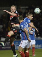 12th September 2017 . Danske Bank Irish premier league match between Crusaders and Linfield at Seaview.. Crusaders Jordan Owens  in action with Linfields Stephen Lowry.  Photo by Stephen Hamilton /Inpho