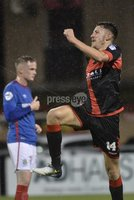 12th September 2017 . Danske Bank Irish premier league match between Crusaders and Linfield at Seaview.. Crusaders Jordan Forsythe celebrates after firing the Crues into a 1-0 lead..  Photo by Stephen Hamilton /Inpho