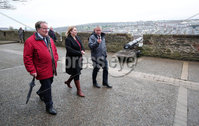 Press Eye - Belfast - Northern Ireland - 5th March 2018 -  . Visiting Londonderry on Monday 5 March 2018, Secretary of State for Northern Ireland Karen Bradley MP toured its stunning 17th century walls escorted by Visit Derry Manager Odhran Dunne, right, and Chair, Don Wilmont, who updated her on the city's growth and importance as a thriving tourist destination.. Photo by Kelvin Boyes / Press Eye..