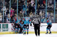 Press Eye - Belfast -  Northern Ireland - 13th January 2018 - Photo by William Cherry/Presseye. Belfast Giants Sebastien Sylvestre celebrates scoring the go ahead goal with 22 seconds remaining against Nottingham Panthers during Saturday nights Elite Ice Hockey League game at the SSE Arena, Belfast.