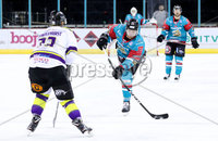 Press Eye - Belfast -  Northern Ireland - 11th February 2018 - Photo by William Cherry/Presseye. Belfast Giants John Kurtz with Manchester Storm\'s Paul Swindlehurst during Sunday afternoons Elite Ice Hockey League game at the SSE Arena, Belfast.