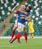 UEFA Europa League- Qualifying Third Round-2nd Leg, Windsor Park, Belfast  12/8/2019. Linfield FC vs FK FK Sutjeska. Linfield\'s  Shayne Lavery  celebrates scoring  with Niall Quinn  against  FK Sutjeska.. Mandatory Credit  INPHO/Brian Little
