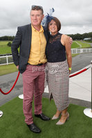 Press Eye - Belfast - Northern Ireland - 11th August 2019 - (L-R) Declan and Pauline McCarthy from Portaferry, pictured at the Downpatrick Racecourse Style Sunday race meeting. . Photograph by Declan Roughan / Press Eye