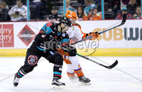 Press Eye - Belfast -  Northern Ireland - 06th January 2018 - Photo by William Cherry/Presseye. Belfast Giants Steve Saviano with Sheffield Steelers Miika Franssila during Saturday nights Elite Ice Hockey League game at the SSE Arena, Belfast