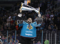 Press Eye - Belfast -  Northern Ireland - 06th April 2019 - Photo by William Cherry/Presseye. Belfast Giants\' Tyler Beskorowany pictured with the Elite Ice Hockey League trophy after being crowned Champions at the SSE Arena, Belfast.       Photo by William Cherry/Presseye