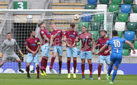 ress Eye - Belfast - Northern Ireland - 27th July 2020 - . Ballymena United FC v Coleraine FC Sadler\'s Peaky Blinder Irish Cup Semi Final at the National Football Stadium at Windsor Park.. Coleraines Eoin Bradley takes a free kick . Photo by Jonathan Porter Press Eye.