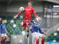 Danske Bank Premiership, Windsor Park, Belfast 9/2/2019. Linfield vs Coleraine. Linfield\'s Kyle McClean with Coleraine\'s Dean Shiels. Mandatory Credit INPHO/Matt Mackey