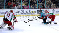 Press Eye - Belfast, Northern Ireland - 01st February 2020 - Photo by William Cherry/Presseye. Belfast Giants\' Ryan Lowney with Cardiff Devils\' Ben Bowns during Sunday afternoons Elite Ice Hockey League game at the SSE Arena, Belfast.   Photo by William Cherry/Presseye