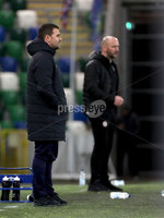 Press Eye - Belfast, Northern Ireland - 29th October 2019 - Photo by William Cherry/Presseye. Linfield manager David Healy and Cliftonville manager Paddy McLaughlin during Tuesday nights BetMcLean League Cup game against Cliftonville at Windsor Park, Belfast.     Photo by William Cherry/Presseye