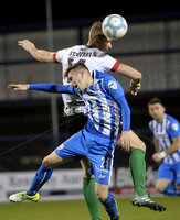 Bet Mclean league cup 3rd round . 8th October 2019. Coleraine  v Glentoran ay Ballycastle road, Coleraine. Coleraines Alex Gawn  in action with Glentorans Cameron Stewart . Mandatory Credit INPHO/Stephen Hamilton.