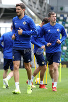 Press Eye - Belfast - Northern Ireland - 8th  September 2019. Northern Ireland train at the National Stadium ahead of their UEFA Euro Qualifier against Germany.. Picture by Declan Roughan/PressEye. (Left) Craig Cathcart