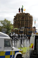 Presseye.com. 8th August 2019. General views of the Newlodge bonfire  in Belfast where police have moved in ahead of contractors which have been tasked to remove everything from the site.. Mandatory Credit : Stephen Hamilton/Presseye