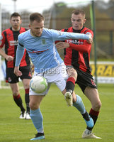 12th October 2019. Danske Bank Irish premiership. Ballymena v Crusaders at Warden Street.. Ballymena\'s Ryan Harpur  in action with Crusaders Rory Hale. Mandatory Credit -Inpho/Stephen Hamilton.