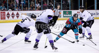 Press Eye - Belfast -  Northern Ireland - 10th March 2018 - Photo by William Cherry/Presseye. Belfast Giants Brendan Connolly with Braehead Clan\'s Christoffer Bjorklund during Saturday evenings Elite Ice Hockey League game at the SSE Arena, Belfast.