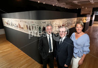 Press Eye - Belfast -  Northern Ireland - 17th July 2017 - Photo by William Cherry/Presseye. John McGrillen, CEO of Tourism NI; Niall Gibbons, CEO of Tourism Ireland; and Kathryn Thomson, CEO of the Ulster Museum, at the launch of the 2017 Game of Thrones campaign in the Ulster Museum, Belfast. The Game of Thrones tapestry will be open to the public at the Ulster Museum from Saturday 22 July.. Photo by William Cherry/Presseye