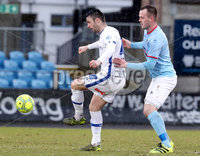 Danske Bank Premiership, The Showgrounds, Ballymena, Co. Antrim 10/3/2018. Ballymena United vs Coleraine. Ballymena United\'s Kyle Owens in action with Eoin Bradley of Coleraine. Mandatory Credit ©INPHO/Declan Roughan