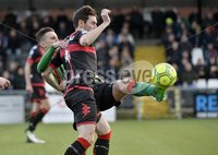 Danske Bank Premiership, Seaview Belfast.. Co Antrim 02/12/17. Crusaders v Glentoran. Mandatory Credit ©INPHO/Stephen Hamilton. Crusaders  Howard Beverand  in action with Glentorans Johnny Addis.