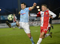 Danske Bank Premiership, The Showgrounds Ballymena 5/04/2019. Ballymena United v Linfield. Ballymena\' s Jim Ervin  with Linfield\'s Daniel Kearns. Mandatory Credit INPHO/Stephen Hamilton.