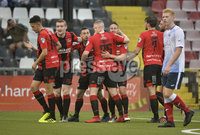 6th August 2018. Danske Bank Irish premier league match between Crusaders and Ards at Seaview.. Crusaders Michael Carvill celebrates after firing the Crues into a 1-0 lead.  Mandatory Credit: Stephen Hamilton /Inpho