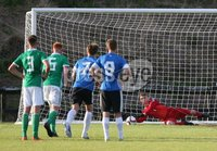 PressEye-Northern Ireland- 19th August  2019-Picture by Brian Little/PressEye. Northern Ireland U16  goal keeper  Billy McDowell  saves a penalty against  Estonia U16   during Monday evening\'s challenge match at Breda Park (Knockbreda FC).. Picture by Brian Little/PressEye .