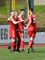Press Eye Belfast - Northern Ireland 12th August 2017. Danske Bank Irish Premier league match between Cliftonville and Ards at Solitude Belfast.. Cliftonville\'s Jay Donnelly celebrates after he  fires the side level at 1-1.  Photo by Stephen  Hamilton / Press Eye