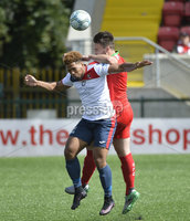 Press Eye Belfast - Northern Ireland 12th August 2017. Danske Bank Irish Premier league match between Cliftonville and Ards at Solitude Belfast.. Cliftonville\'s Jamie Harney in action with Ards Guillaume Keke.  Photo by Stephen  Hamilton / Press Eye