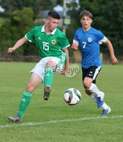 PressEye-Northern Ireland- 19th August  2019-Picture by Brian Little/PressEye. Northern Ireland U16 Lewis Tosh    and Estonia U16 Kevin Burov  during Monday evening\'s challenge match at Breda Park (Knockbreda FC).. Picture by Brian Little/PressEye .