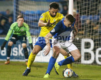 Tennants Irish Cup at Mourneview in Lurgan.  11.02.2019. Glenavon v Dungannon. Glenavon\'s Andrew Mitchell with Dungannon\'s Chris Hegarty. Mandatory CreditINPHO/PressEye.com/Jonathan Porter.