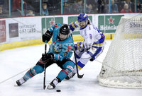 Press Eye - Belfast, Northern Ireland - 06th March 2020 - Photo by William Cherry/Presseye. Belfast Giants\' Bobby Farnham with Fife Flyers\' Chase Schaber during Friday nights Elite Ice Hockey League game at the SSE Arena, Belfast.   Photo by William Cherry/Presseye