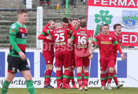 Danske Bank Premiership at the Oval in Belfast . 07.03.2020. Glentoran Vs Cliftonville. Cliftonville celebrate after scoring to make it 0-2.. Mandatory Credit INPHO/Jonathan Porter