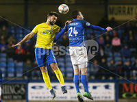 Tennants Irish Cup at Mourneview in Lurgan.  11.02.2019. Glenavon v Dungannon. Glenavon\'s Stephen Murray with Dungannon\'s Chris Hegarty. Mandatory CreditINPHO/PressEye.com/Jonathan Porter.