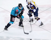 Press Eye - Belfast -  Northern Ireland - 10th October 2018 - Photo by William Cherry/Presseye. Belfast Giants\' Josh Roach with Guildford Flames\' Kevin King during Wednesday nights Elite Ice Hockey League game at the SSE Arena, Belfast.        Photo by William Cherry/Presseye.