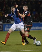 12th September 2017 . Danske Bank Irish premier league match between Crusaders and Linfield at Seaview.. Crusaders Colin Coates  in action with Linfields Aaron Burns.  Photo by Stephen Hamilton /Inpho