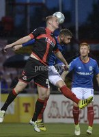 12th September 2017 . Danske Bank Irish premier league match between Crusaders and Linfield at Seaview.. Crusaders Jordan Owens  in action with Linfields MRK hAUGHEY.  Photo by Stephen Hamilton /Inpho