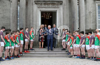 Press Eye - Belfast -  Northern Ireland - 22nd May 2019 - Photo by William Cherry/Presseye. . The Prince of Wales is pictured at the Palace Demesne, Armagh during his 2 day visit to Northern Ireland. The rugby and GAA players present HRH with two shirts as he left the Palace..