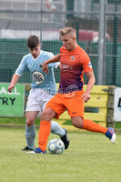 © Presseye.com- August 12th 2017, Danske Bank Premiership.. Warrenpoint Town v Glenavon %:30 Kick off.. Warrenpoint\'s Dale McCreery. and Glenavon\'s Andrew Mitchell. during Saturday\'s match at Milltown. Photo by TONY HENDRON/Presseye.com. .