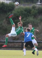 PressEye-Northern Ireland- 19th August  2019-Picture by Brian Little/PressEye. Northern Ireland U16  Bobby Deane   and Estonia U16 Kevin Burov  during Monday evening\'s challenge match at Breda Park (Knockbreda FC).. Picture by Brian Little/PressEye .