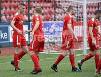 Press Eye - Belfast - Northern Ireland -15th July. Photo by Stephen Hamilton  / Press Eye.. Pre season friendly match between Cliftonville and Swansea u23 at Solitude in Belfast.. Cliftonvilles Daniel hughes pictured after his cross was turned into the Swansea net for an own goal