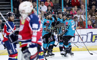 Press Eye - Belfast -  Northern Ireland - 14th September 2018 - Photo by William Cherry/Presseye. Belfast Giants\' Jim Vandermeer celebrates scoring against the Dundee Stars during Friday nights Challenge Cup game at the SSE Arena, Belfast.       Photo by William Cherry/Presseye