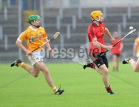 Ulster GAA Minor  Hurling Championship Final - Antrim v Down - 8th July 2012. Copyright Presseye.com. Mandatory Credit Declan Roughan / Presseye. Antrim\'s Ruairi Diamond and Down\'s Caolan Bailie