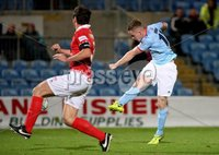 BetMcLean League Cup Round 3, Ballymena Showgrounds, Ballymena 10/10/2017. Ballymena United vs Portadown. Ballymena United\'s Andrew Burns and Kyle Neill of Portadown. Mandatory Credit ©INPHO/Brian Little