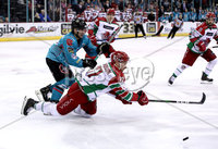 Press Eye - Belfast, Northern Ireland - 01st February 2020 - Photo by William Cherry/Presseye. Belfast Giants\' Bobby Farnham with Cardiff Devils\' Mark Richardson during Sunday afternoons Elite Ice Hockey League game at the SSE Arena, Belfast.   Photo by William Cherry/Presseye