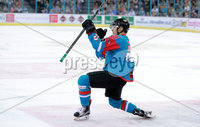 Press Eye - Belfast -  Northern Ireland - 09th August 2017 - Belfast Giants Dustin Johner scores during Saturday nights Elite Ice Hockey League game at the SSE Arena, Belfast.  Photo by Presseye