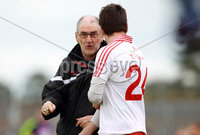 All Ireland Senior Football Championship Qualifier Round 2, Dr. Hyde Park, Roscommon 14/7/2012. Roscommon vs Tyrone. Tyrone manager Mickey Harte with substitute Ryan McMenamin. Mandatory Credit ©INPHO/Donall Farmer